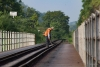 Train to Patalpani 075 - A gangman inspects the trackage on Ravine Viaduct No.1