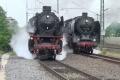 Dampfspektekal 2014 031 - Double departure at Bensheim, mass scale tresspass of railway property by railfans for this shot
