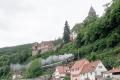 Dampfspektekal 2014 050 - Viewed from the road another steam train passes below Zwingenberg castle enroute Heilbronn