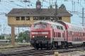Dampfspektekal 2014 140 - A rare BR 218 class draws in a passenger service from the direction of Landau