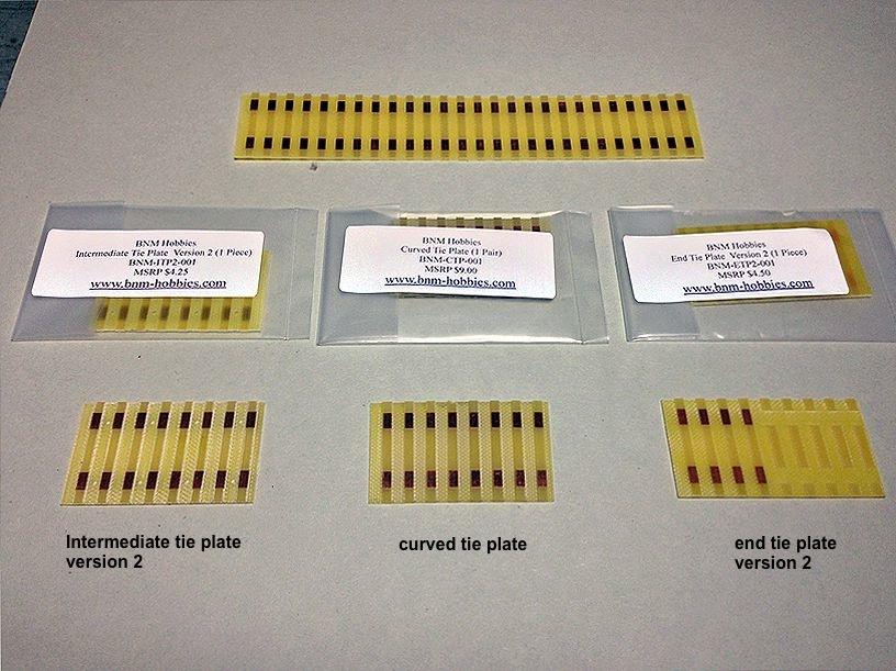 track across modules BNM hobbies various tie plates named