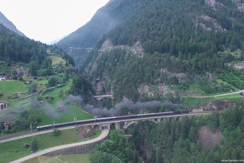 Gotthard Dampfspektakel blog - SNCF 141r on the middle meienreuss bridge