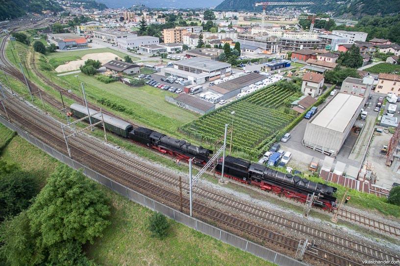 Gotthard Dampfspektakel blog - The steamers at the north end of Bellinzona yard