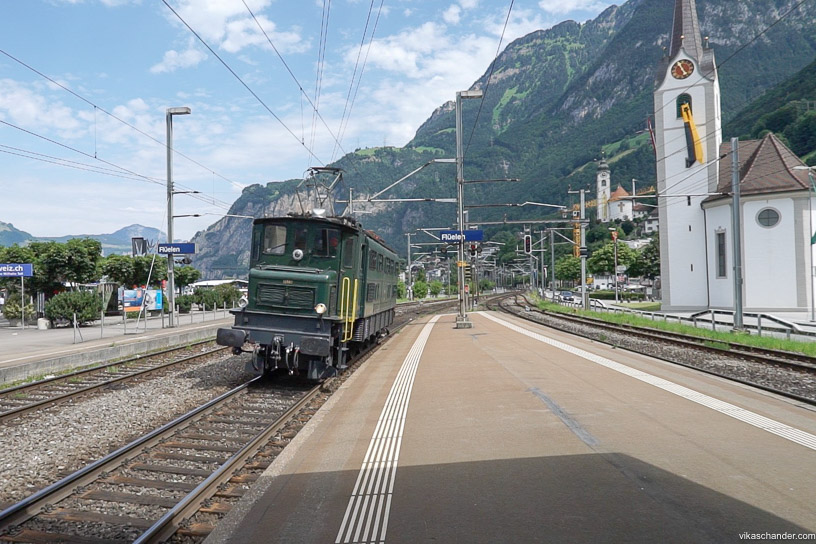 Gotthard Dampfspektakel blog - Vintage electric AE4-7 number 11407 at Fluellen