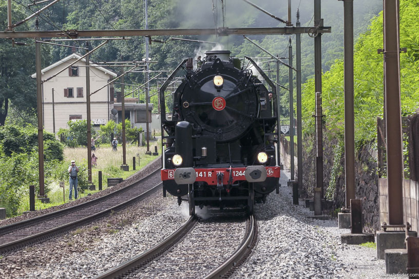 Gotthard Dampfspektakel blog - close quarters with SNCF 141r at the Biaschina step complex
