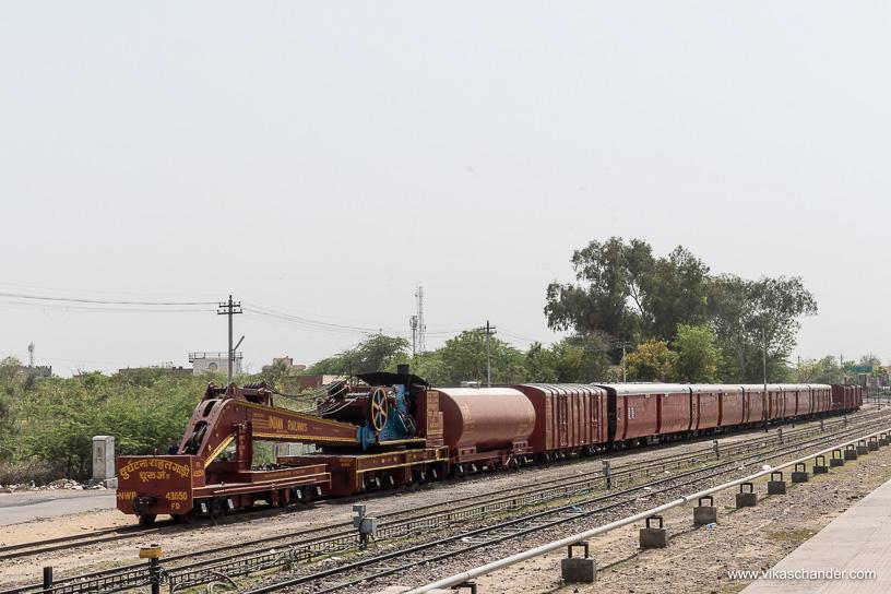 Shekhawati Express blog - An accident relief train stabled at Churu