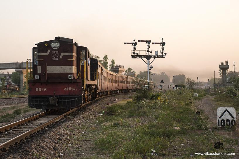 Shekhawati Express blog - Train 02088 glows in the morning light